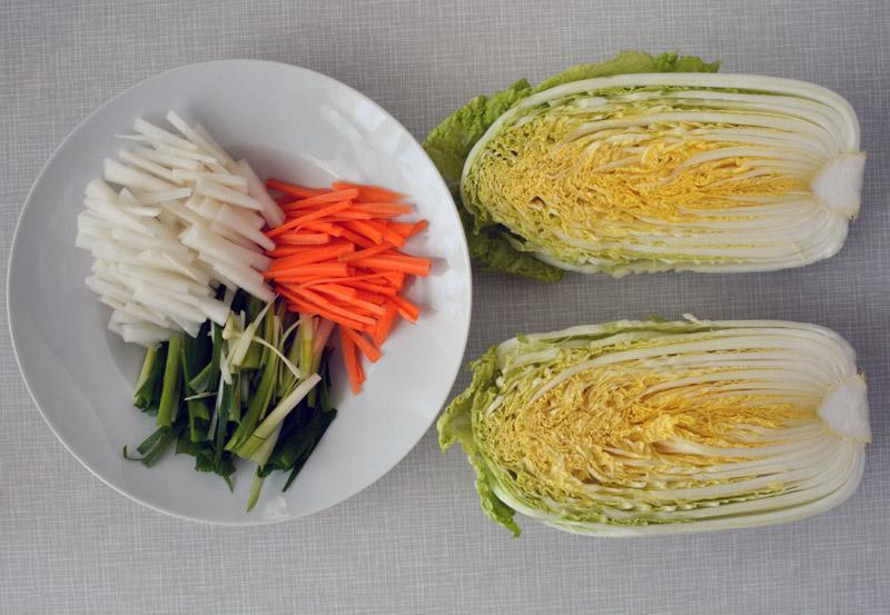 kimchi ingredienti tagliati