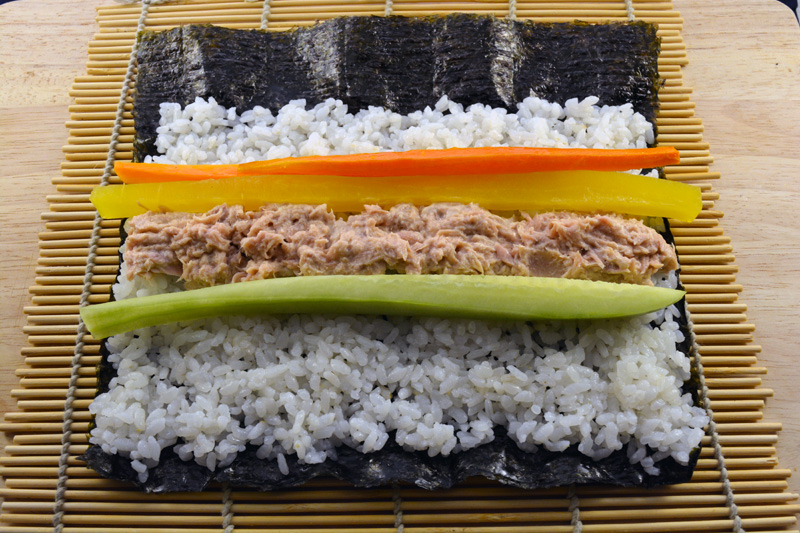kimbap di tonno ingredienti con riso