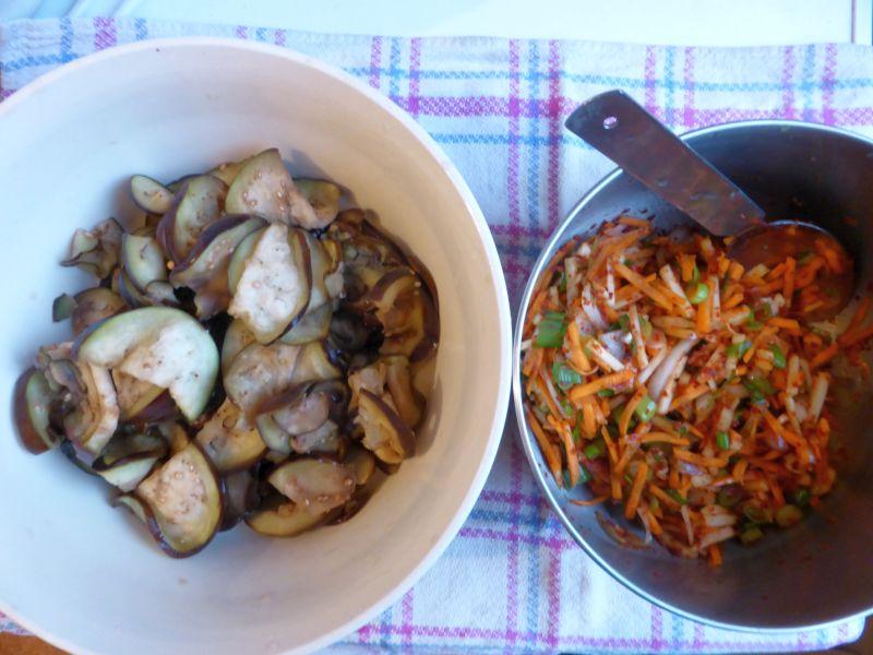 melanzane e salsa kimchi